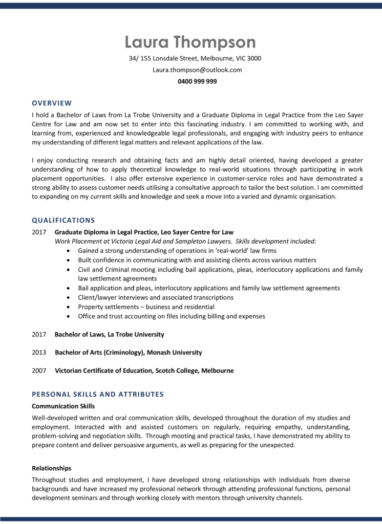 Alpha Resumes Entry Excellence Resume Sample Page 1