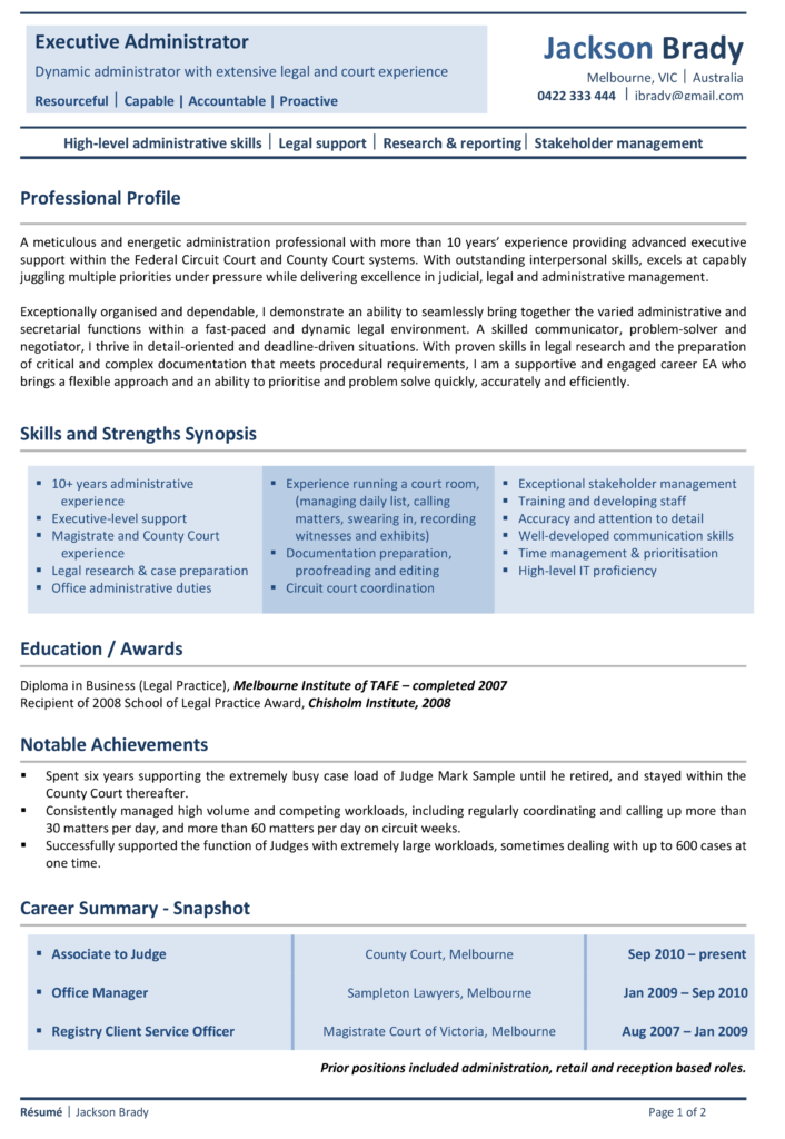 Alpha Resumes Signature Sample Resume Page1