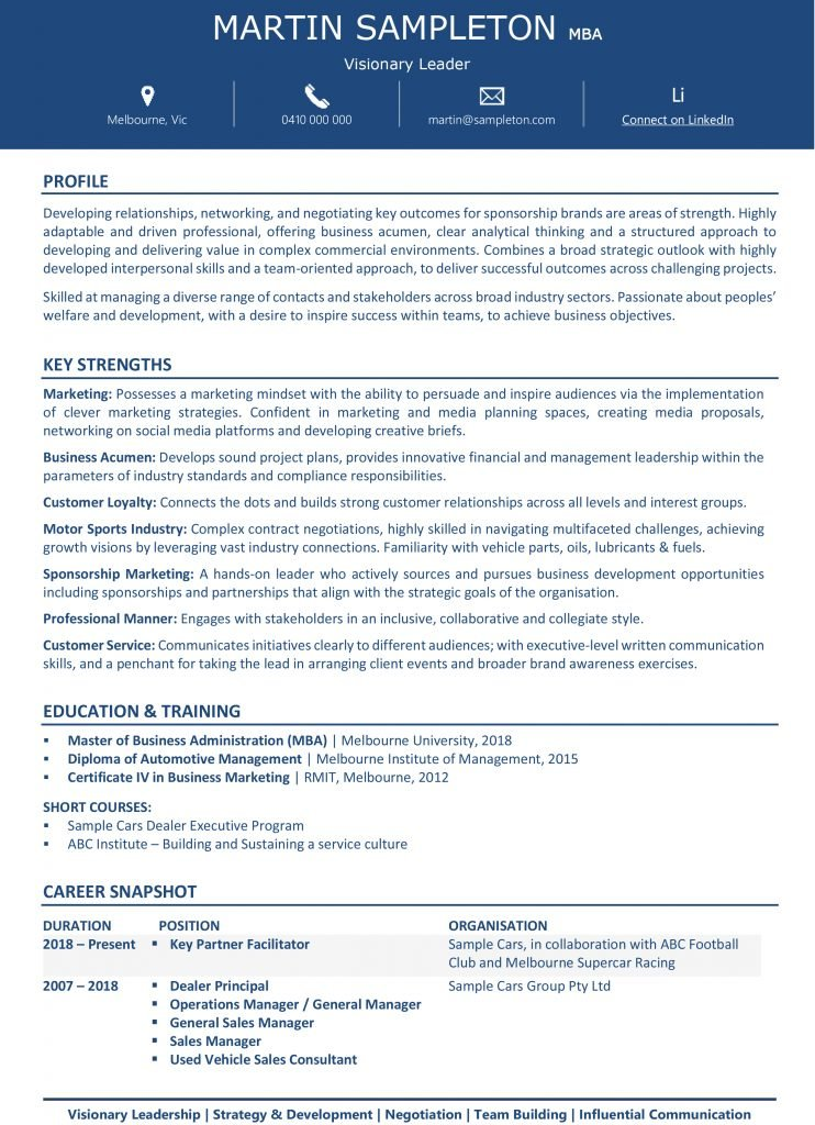 Sample Platinum Manager Resume Page1 1